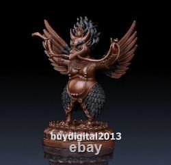 Tibet Temple red copper Bronze Garuda Dhwaja Hawk Eagle Bird God buddha Statue