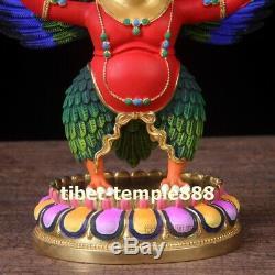 Tibet pure bronze 24K gold Garuda Dhwaja Garula suparna Bird eagle buddha Statue