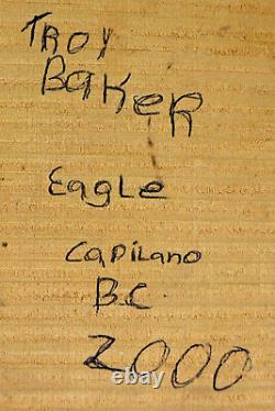 Troy Baker Original Haida Wood Carving Eagle Hand Painted Native art Squamish