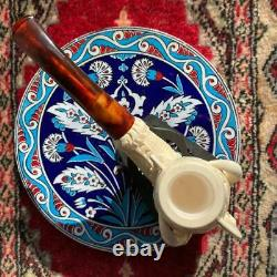 UNSMOKED Hand-carved Eagle Claw BLOCK MEERSCHAUM pipe (9mm)