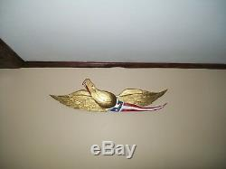 US Hand Carved Gold Wood Eagle Flag Carving Americana Folk Art Bellamy