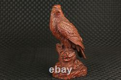 Unique Chinese old boxwood hand carved eagle figure statue gift