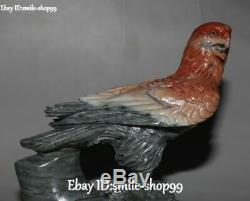 Unique Natural Shoushan Stone Hand Carved Bird Eagle Hawk Falcon Animal Statue