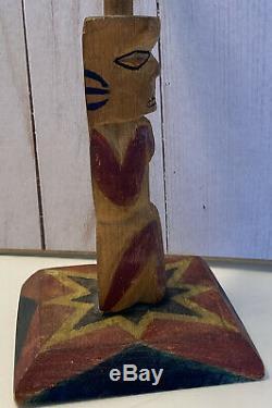 VINTAGE Alaska Hand Carved Wooden Totem Pole Eagle Whale Bear