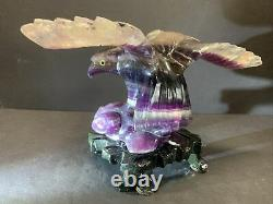 VTG Chinese Solid Purple Amethyst Eagle Hand Carved With Stand 7 Tall 5 Lbs
