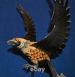 VTG Falcon Standing on Globe Large 20 Sculpture hand carved Buffalo Horn