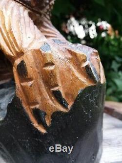 VTG Hand Carved Solid Wood Eagle Flight Rustic Sculpture Talons Gripping Log