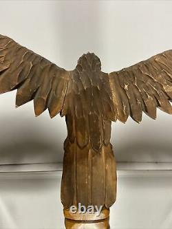 VTG Hand Carved Wood EAGLE BIRD Folk Art