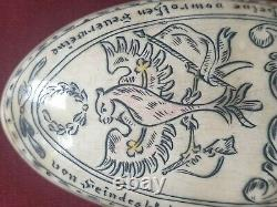 Very Rare Antique Folk Art Hand Carved Bovine Scrimshaw Spoon Austrian Eagle