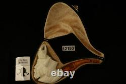 Viking with Eagle Hand Carved Block Meerschaum Pipe with custom CASE 12193