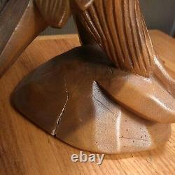 Vintage 70s Hand Carved Eagle Ready For Flight From Single Wood Chunk 14 pair
