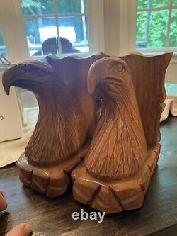 Vintage Bald Eagle Bookends Memorial Day Fathers July 4 America USA Hand Carved