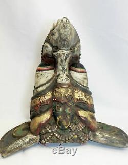 Vintage Balinese Mask Jati Ayu Garuda Eagle Hand Carved Indonesian Bali folk art