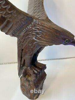 Vintage Big Large Stunning Beautiful Hand Carved Wood 19 Eagle Figure Statue Fo