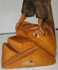 Vintage Black Forest Sculpture Hand Carved Wood Eagle With Detachable Wings 24