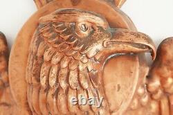 Vintage Folk Art Hand Hammered Copper Eagle Wings Plaque Mount Relief Sculpture