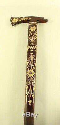 Vintage German Folk Art Hand Carved Wooden Walking Stick Cane With Eagle Head