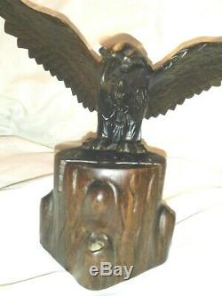 Vintage HAND-CARVED Black Forest spread Eagle Wood Wooden Letter -SPECTACULAR