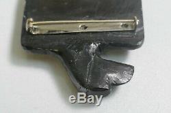 Vintage Haida Native Hand Carved Argillite Eagle Brooch / Pin With Rhinestone Eye