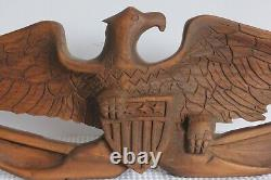 Vintage Hand-Carved American Eagle On Great Seal Hanging Plaque 22 Pine AAFA