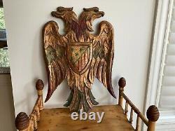 Vintage Hand Carved Americana Gilt Doubled Headed Eagle wall Folk Art