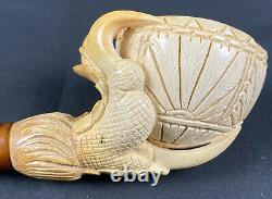 Vintage Hand Carved Block Meerschaum Pipe Eagle Claw Holding Basket Signed