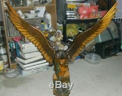 Vintage Hand Carved Eagle With Snake In Mouth 41 POLAND wings adjust FOLK ART