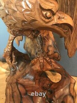 Vintage Hand Carved Folk Art Wooden America Eagle Bird Statue Figure nice