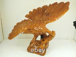 Vintage Hand Carved Majestic landed Wooden Eagle Statue 16 spread wings #16