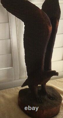 Vintage Hand-Carved Rustic Solid One-Piece Wooden Eagle USA 24 10.6 Lbs. Nice