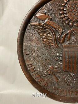 Vintage Hand Carved Us Presidential Seal Eagle Wooden Patriotic Wall Plaque