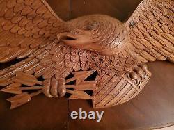 Vintage Hand Carved Wood Folk Art Bellamy Style Eagle Plaque 44 X 14x 5 Large