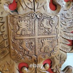Vintage Hand Carved Wood Scottish Shield Coat of Arms Crest Eagle Folk Art 22x19