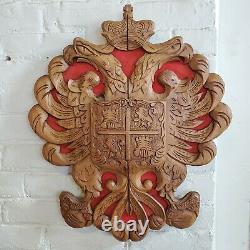 Vintage Hand Carved Wood Spain Coat of Arms Castile Leon Eagle Folk Art 22x19