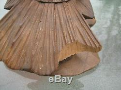 Vintage Hand Carved Wooden Eagle Falcon Wings Out Stands 12 1/2 Inches Tall