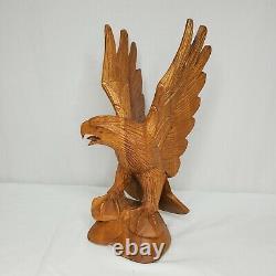 Vintage Hand Carved Wooden Eagle Sculpture Carving Statue 12.5 Folk Art
