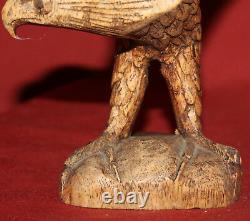 Vintage Hand Carving Wood Eagle Statuette