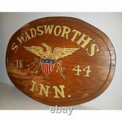Vintage Hand Painted Carved Wood Sign Eagle Patriotic Americana Folk Wall Decor