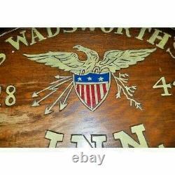 Vintage Hand Painted Sign Carved Wood Eagle Patriotic Americana Folk Wall Decor