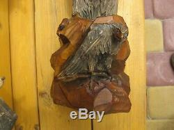 Vintage Huge Eagle (falcon) USSR Russian Hand Carved Wood Figure+gift small eagl
