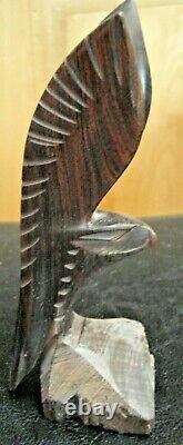 Vintage IRONWOOD Hawk Falcon Eagle Bird Hand Carved Wooden Sculpture