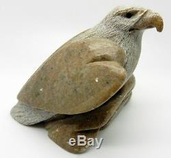 Vintage Inuit Signed Bald Eagle Hand Carved Sculpture Serpentine Stone Figurine