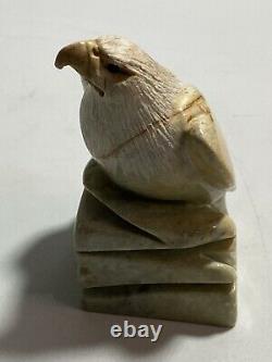Vintage Inuit Signed Bald Eagle Hand Carved Serpentine Stone Figure Sculpture