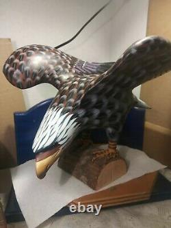 Vintage Large Hand Carved And Painted Wooden Eagle Sculpture. Beautiful