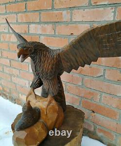 Vintage Large Heavy Brown Wooden Hand Carved Large Eagle 70s
