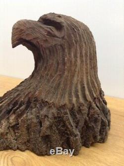 Vintage Large Solid Wood Artist Hand Carved American Eagle Bust Statue