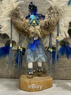 Vintage Native American Navajo Eagle Dancer Kachina Hand Carved & Signed