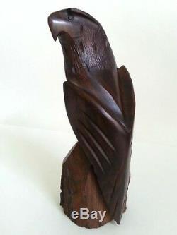 Vintage Native Solid Walnut Wood Eagle Sculpture Hand Carved Art 9 High