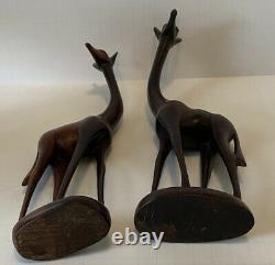 Vintage Set Of 2 Ironwood Hand Carved Giraffes 11 Tall Beautiful