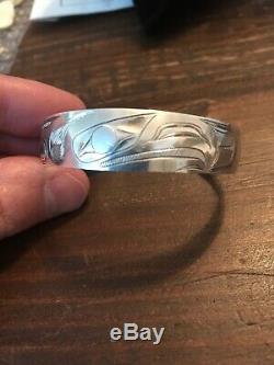 Vintage Sterling Silver Hand Carved Tlingit Bracelet Eagle Signed Alaska